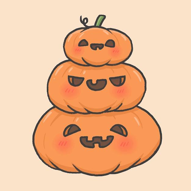 Style De Dessin Animé Mignon Halloween Citrouilles Style