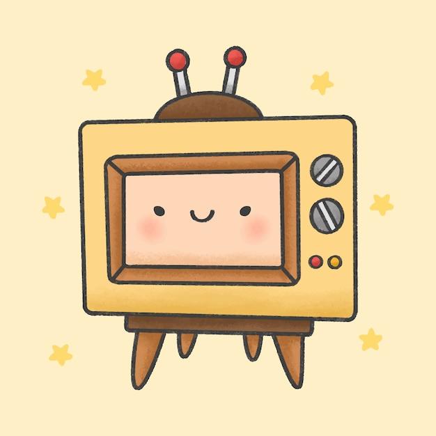 Style de dessin animé mignon rétro télévision bande dessinée à la main Vecteur Premium
