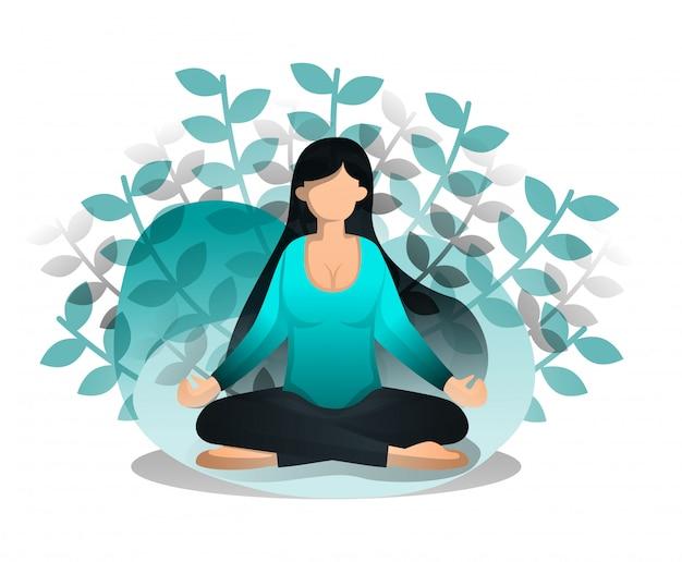 Style de dessin animé plat de fille assise en position de lotus Vecteur Premium