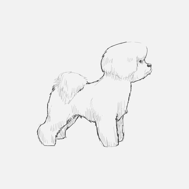 Style de dessin d'illustration de chien Vecteur Premium
