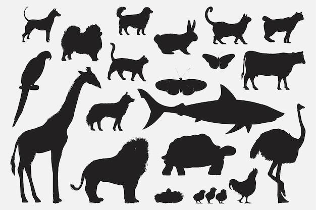Style de dessin d'illustration de collection d'animaux Vecteur gratuit