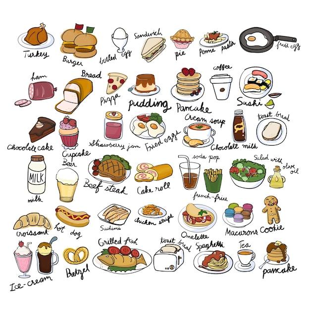 Style de dessin d'illustration de la collection de nourriture Vecteur gratuit