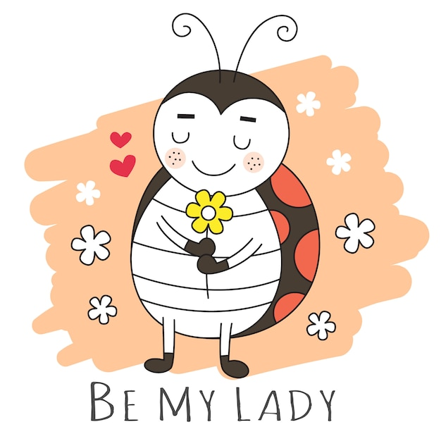 Style dessiné à la main cartooon lady bug mignon Vecteur Premium