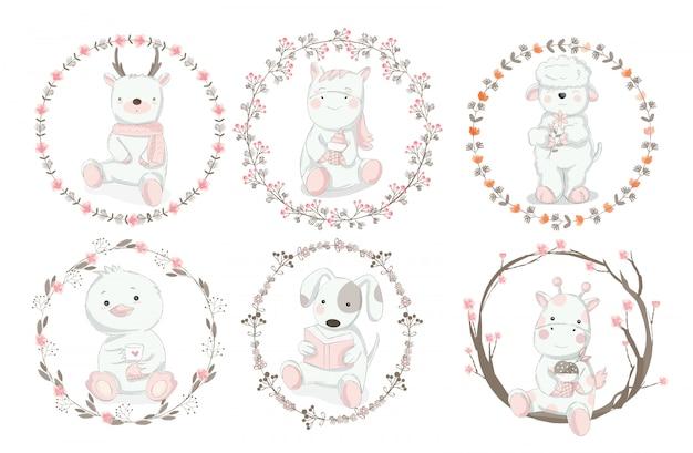 Style dessiné à la main de dessin animé animal mignon Vecteur Premium