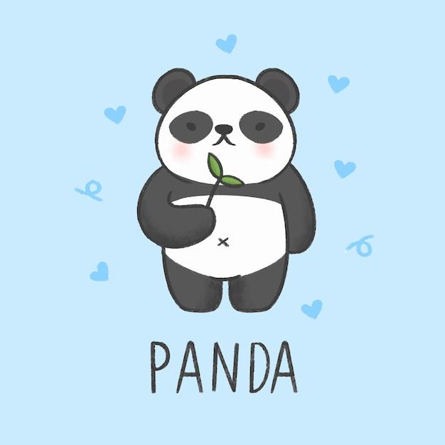 Style dessiné à la main de dessin animé de panda mignon Vecteur Premium