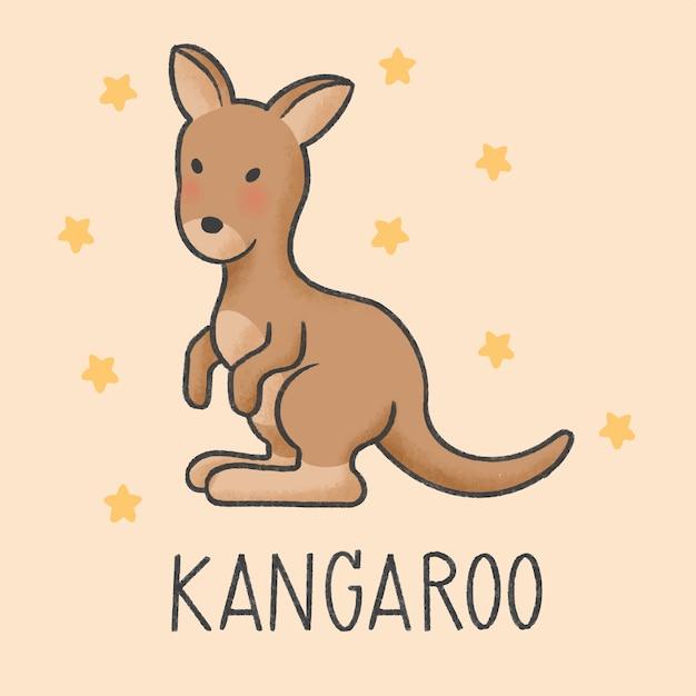 Style dessiné de main kangourou mignon Vecteur Premium