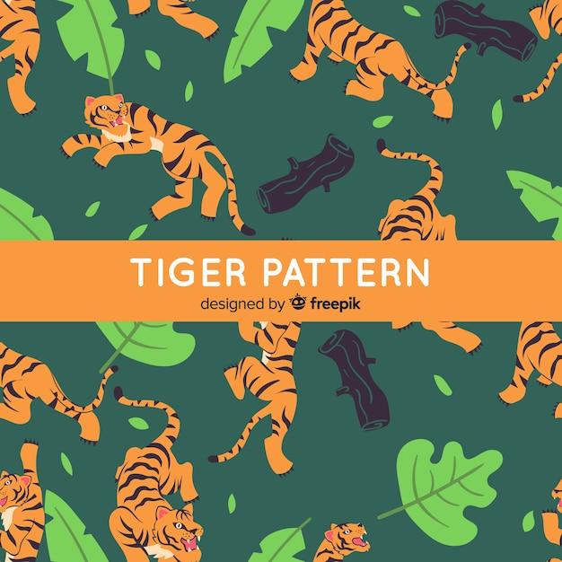 Style Dessiné à La Main De Modèle De Tigre Vecteur gratuit