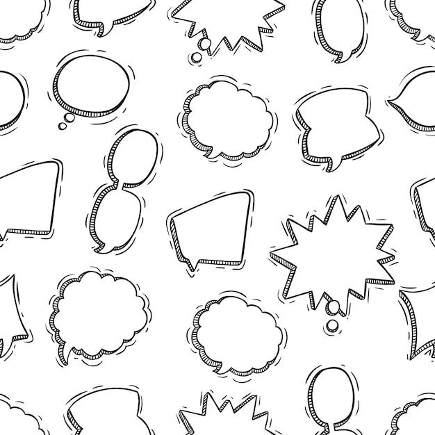 Style de doodle ou croquis de modèle sans couture de bulles de discussion Vecteur Premium