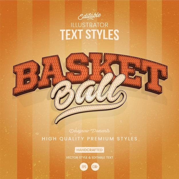 Style du texte de basket-ball Vecteur Premium