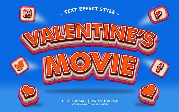 Style Des Effets Du Texte Du Film De La Saint-valentin Vecteur Premium