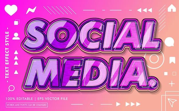 Style Des Effets De Texte Sur Les Médias Sociaux Vecteur Premium