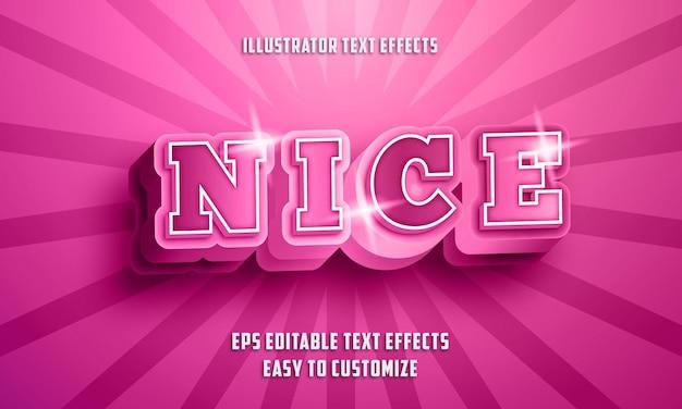 Style D'effets De Texte Modifiables 3d Nice Style Vecteur Premium