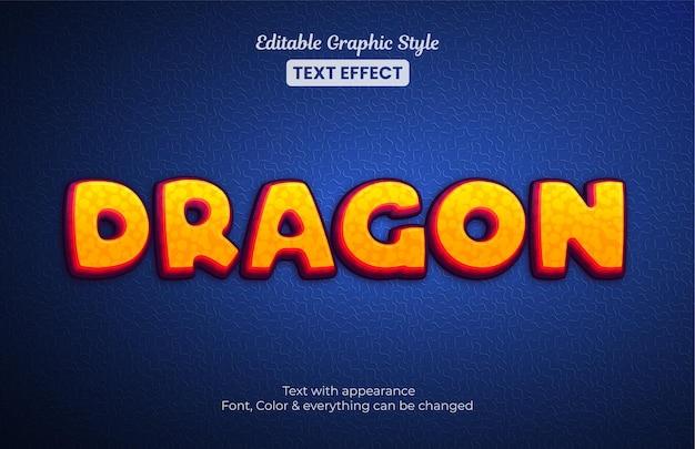 Style De Flamme Orange Dragon, Effet De Texte De Style Graphique Modifiable Vecteur Premium
