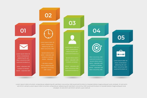 Style Infographique De Couches De Blocs 3d Vecteur Premium