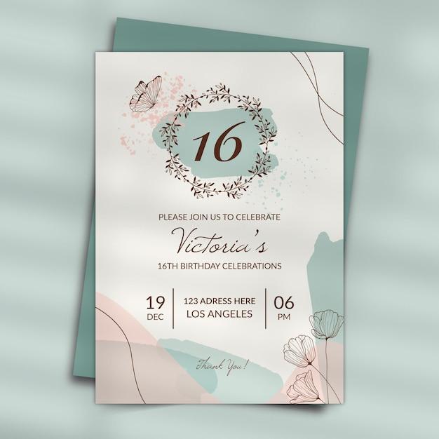 Style D'invitation D'anniversaire Vecteur gratuit