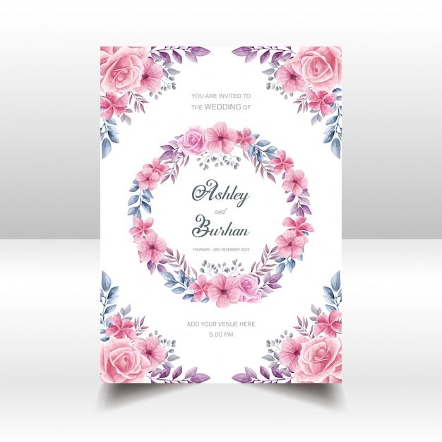 Style invitation aquarelle de mariage floral Vecteur Premium