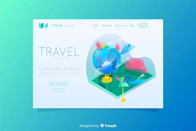 Style isométrique de la page de destination du voyage Vecteur gratuit