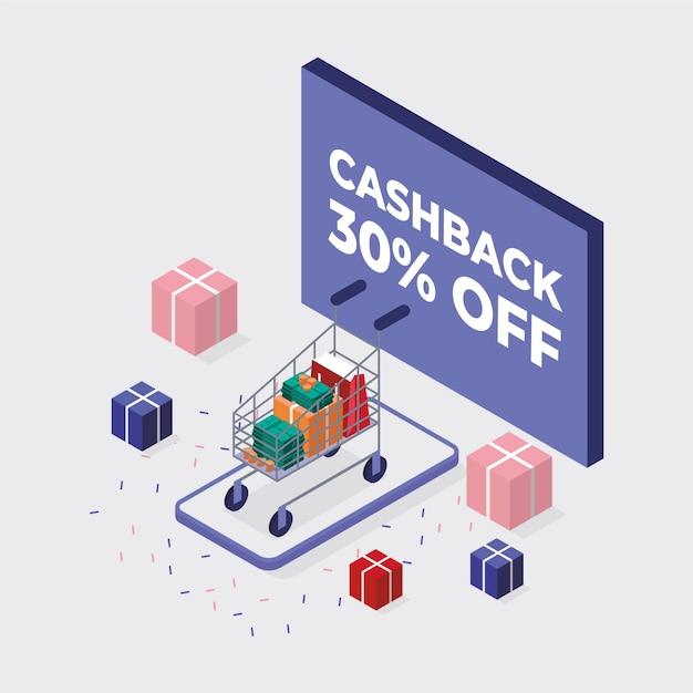Style Isométrique Pour Le Concept De Cashback Vecteur Premium