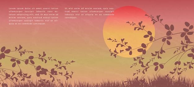 Style Japonais Oriental Motif Abstrait Design Fond Coucher De Soleil Vue De Paysage De Branche D'arbre Et D'herbe Au Sol Vecteur Premium
