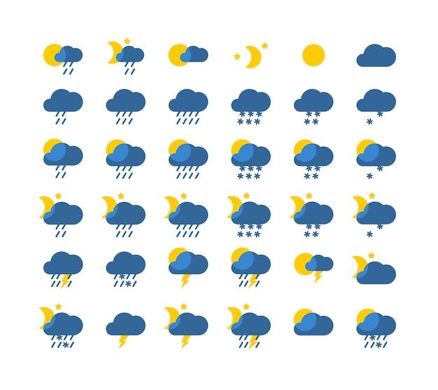 Style de jeu d'icônes météo vecteur Vecteur Premium