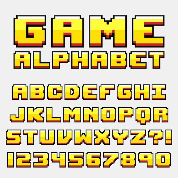 Style de jeu vidéo rétro lettre alphabet pixel Vecteur Premium