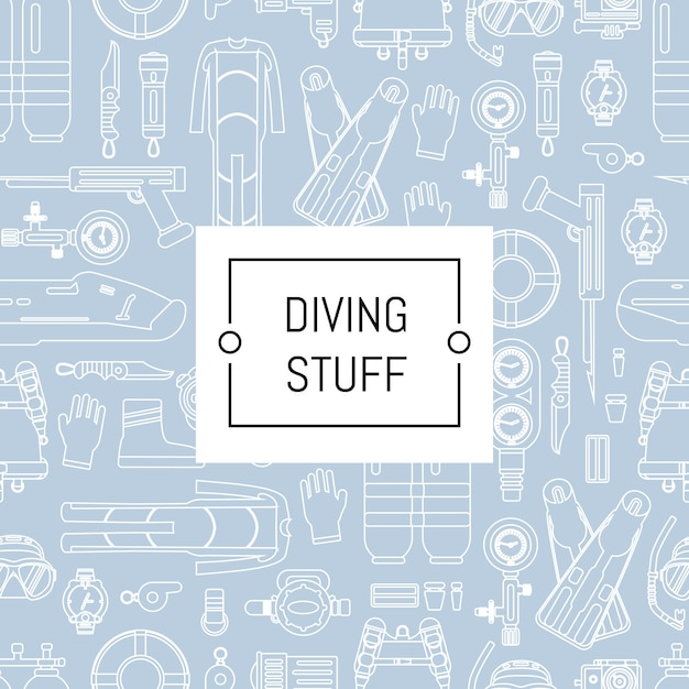 Style linéaire de plongée sous-marine avec place pour le texte. bannière de modèle de plongée sous-marine de sport Vecteur Premium