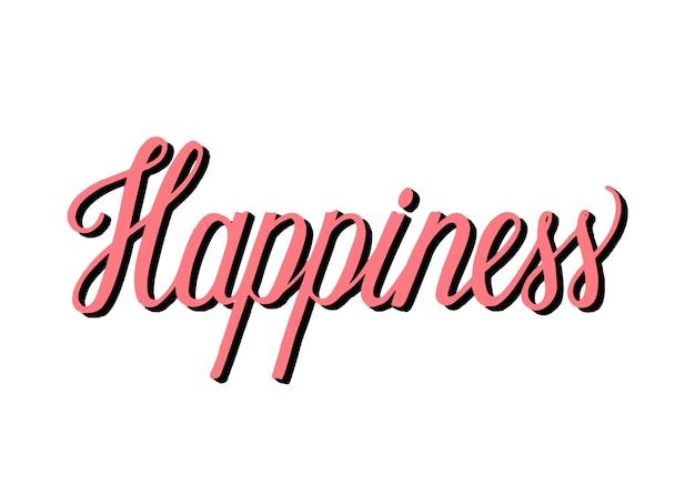 Style manuscrit de typographie de bonheur Vecteur gratuit