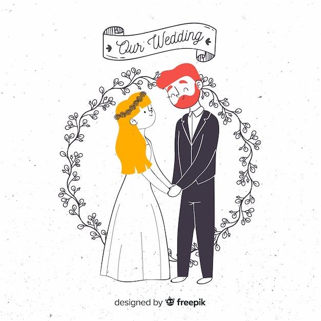 Style de mariage couple dessiné à la main Vecteur gratuit