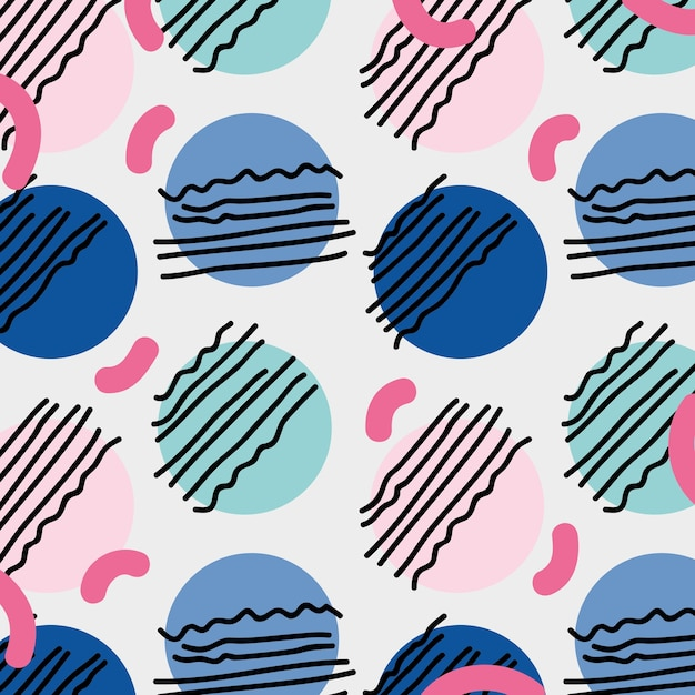 Style De Memphis Avec Illustration Vectorielle De Couleur Design Géométrique Vecteur Premium
