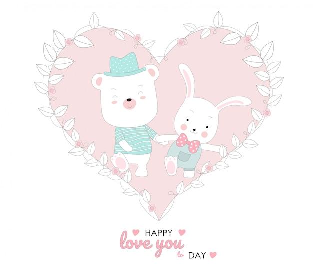 Le style mignon de bébé lapin et piggy cartoon animaux dessinés à la main Vecteur Premium