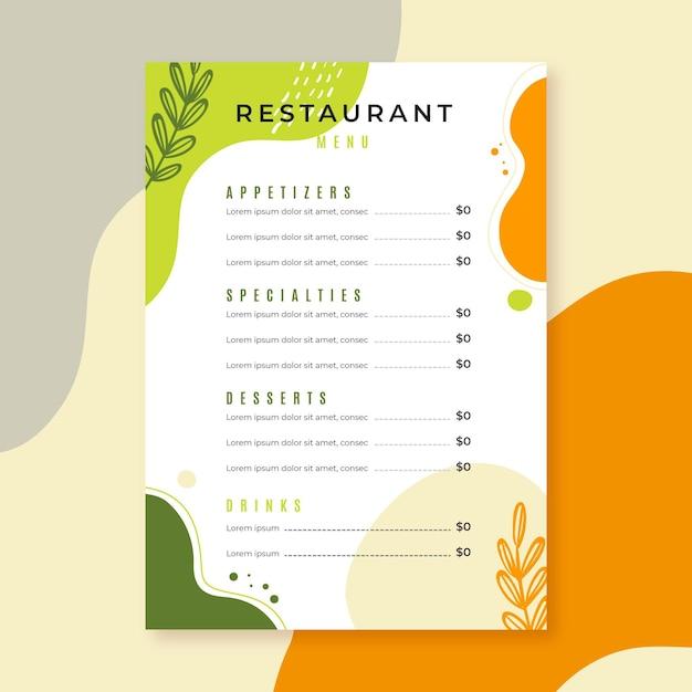 Style De Modèle De Menu De Restaurant Vecteur gratuit