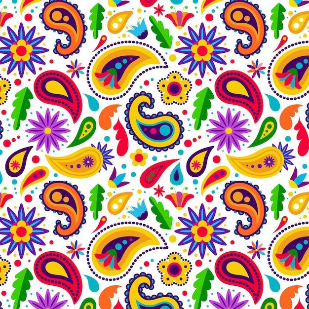 Style De Motif Paisley Coloré Vecteur Premium