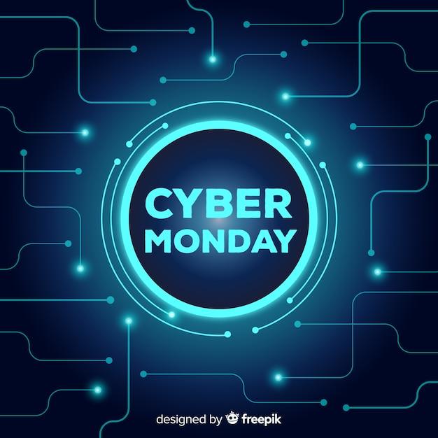Style de néon de fond de vente cyber lundi Vecteur gratuit