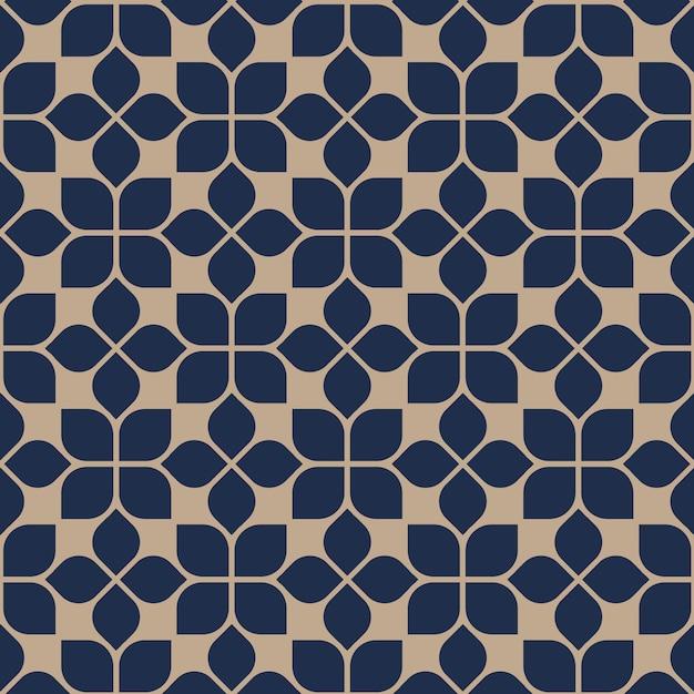 Style oriental abstrait motif floral géométrique sans soudure Vecteur Premium
