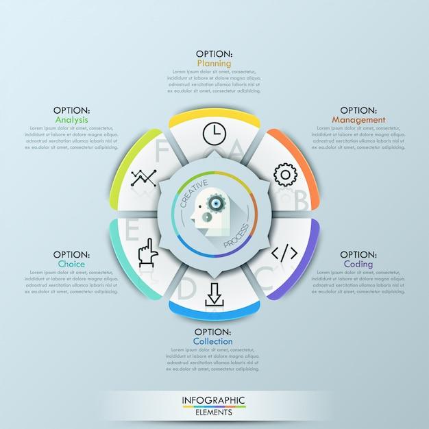 Style d'origami d'affaires infographie modèle cercle illustration vectorielle Vecteur Premium
