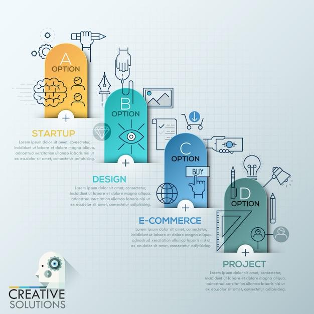 Style d'origami de polygone d'affaires infographie Vecteur Premium
