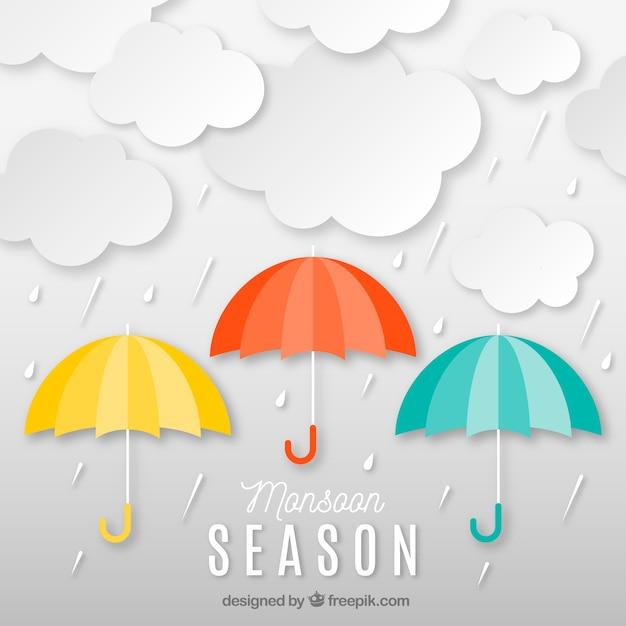 Le style origami de la saison de la mousson Vecteur gratuit