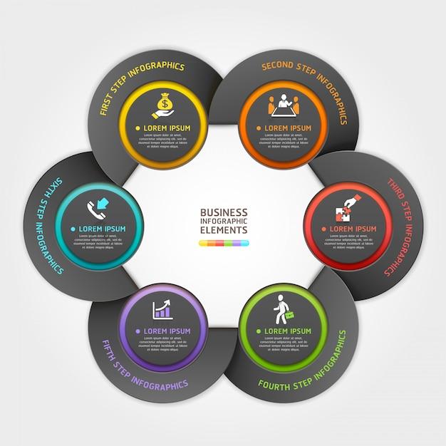 Style d'origami de service d'affaires moderne flèche cercle. Vecteur Premium