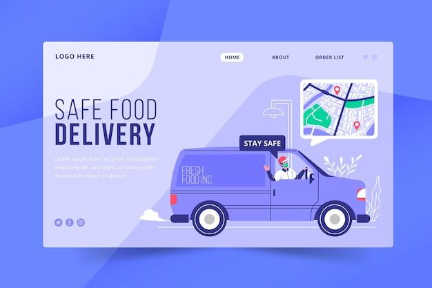 Style De Page De Destination De Livraison De Nourriture Sûre Vecteur gratuit