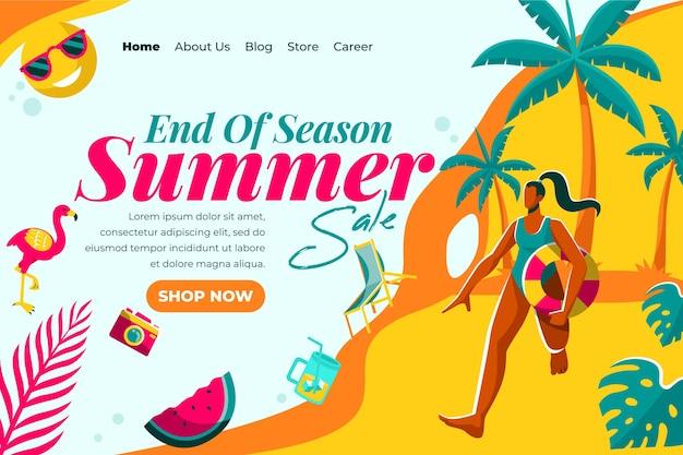 Style De Page De Destination Des Soldes D'été De Fin De Saison Vecteur gratuit