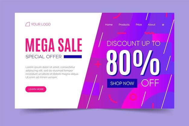 Style de page de vente abstraite memphis Vecteur gratuit
