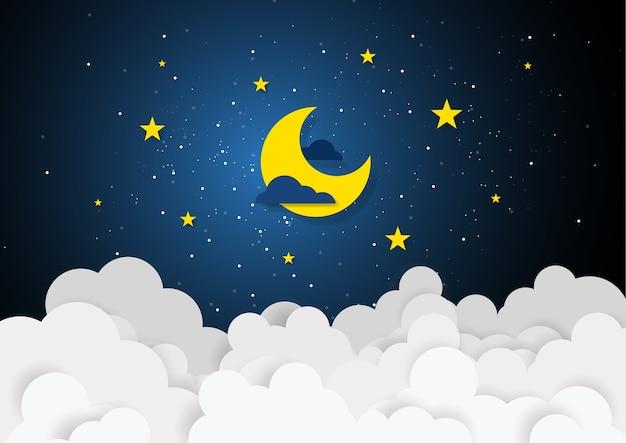 Style de papier d'art de la lune et des étoiles à minuit Vecteur Premium
