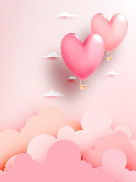 Style de papier ballon coeur air chaud avec illustration vectorielle de ciel pastel fond Vecteur Premium