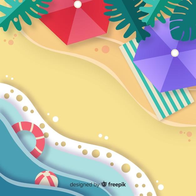 Style de papier vue de dessus de plage Vecteur gratuit