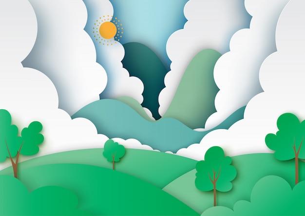 Style de paysage nature et écologie concept art papier Vecteur Premium