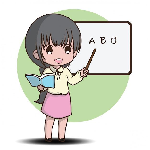 Style de personnage de dessin animé mignon enseignant ...