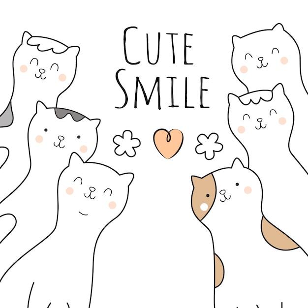 Style de personnages de dessin animé de chats mignons dessinés à la main Vecteur Premium
