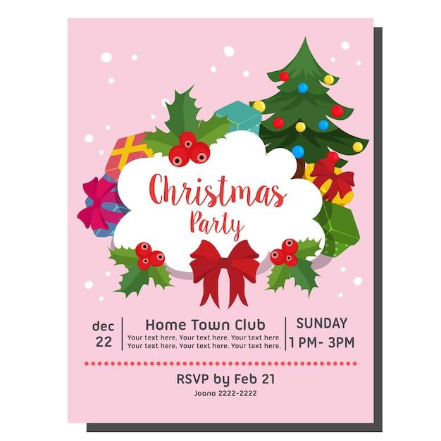 Style Plat Arbre De Noël Carte D'invitation Fête | Vecteur Premium