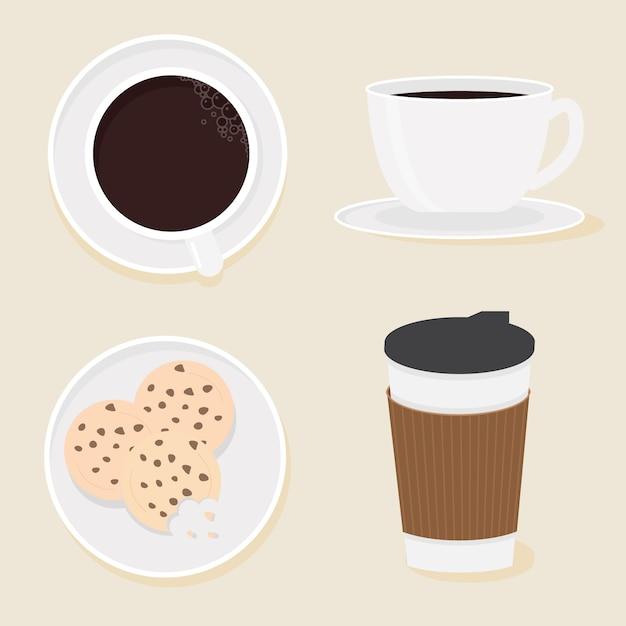 Style plat de collection de café et de biscuits Vecteur Premium