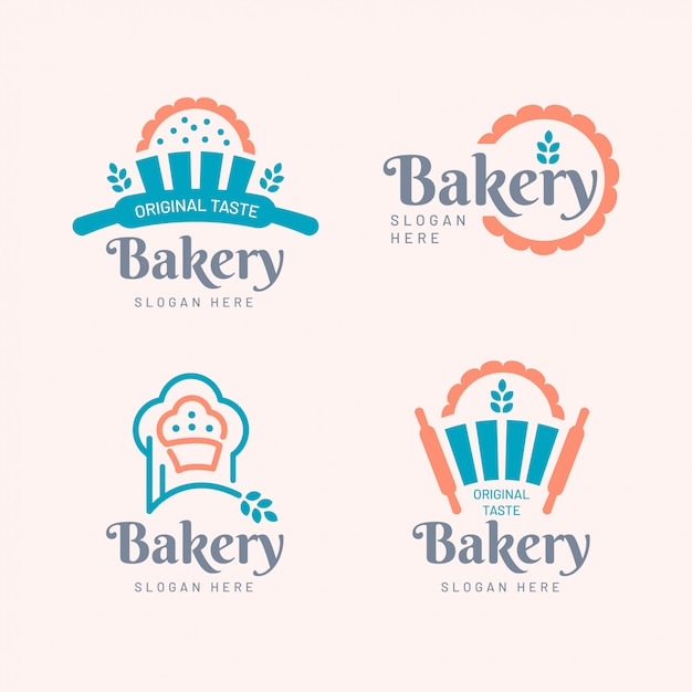 Style plat de collection de logos de boulangerie Vecteur Premium